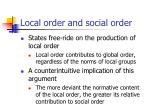 local order and social order