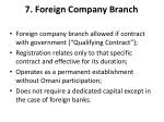 7 foreign company branch