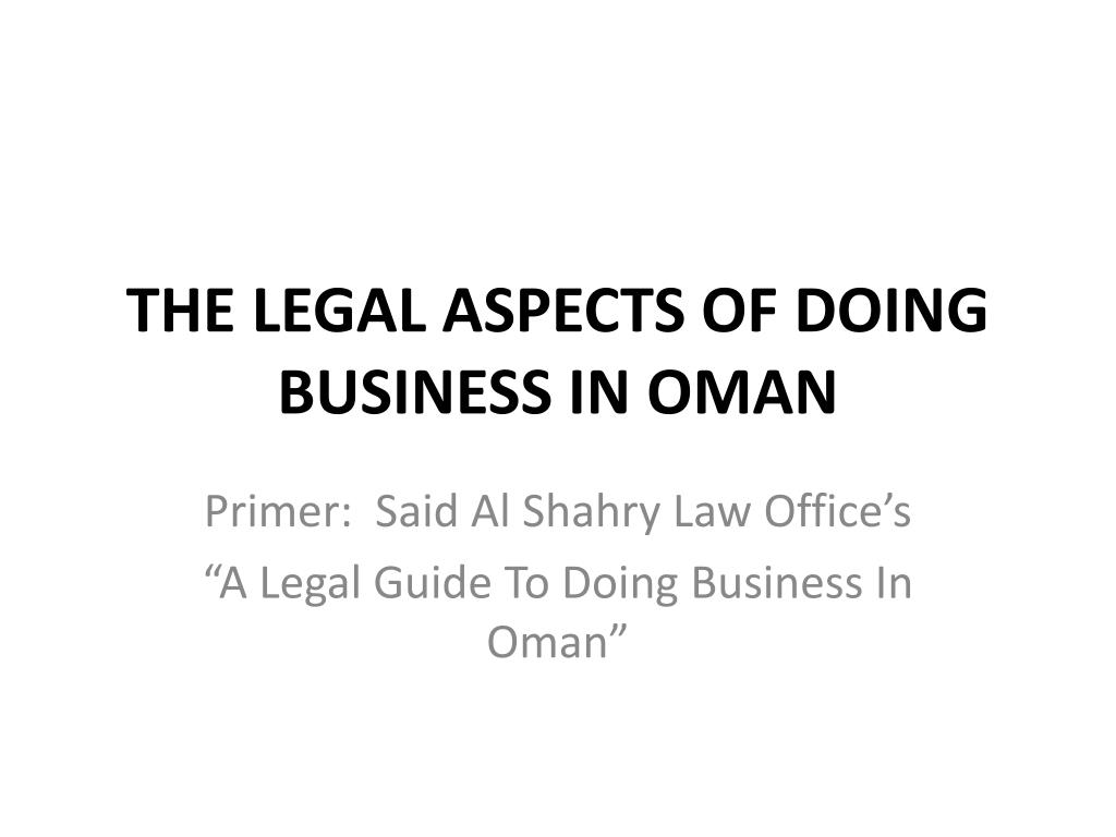 the legal aspects of doing business in oman l.