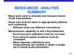 mixed mode analysis summary