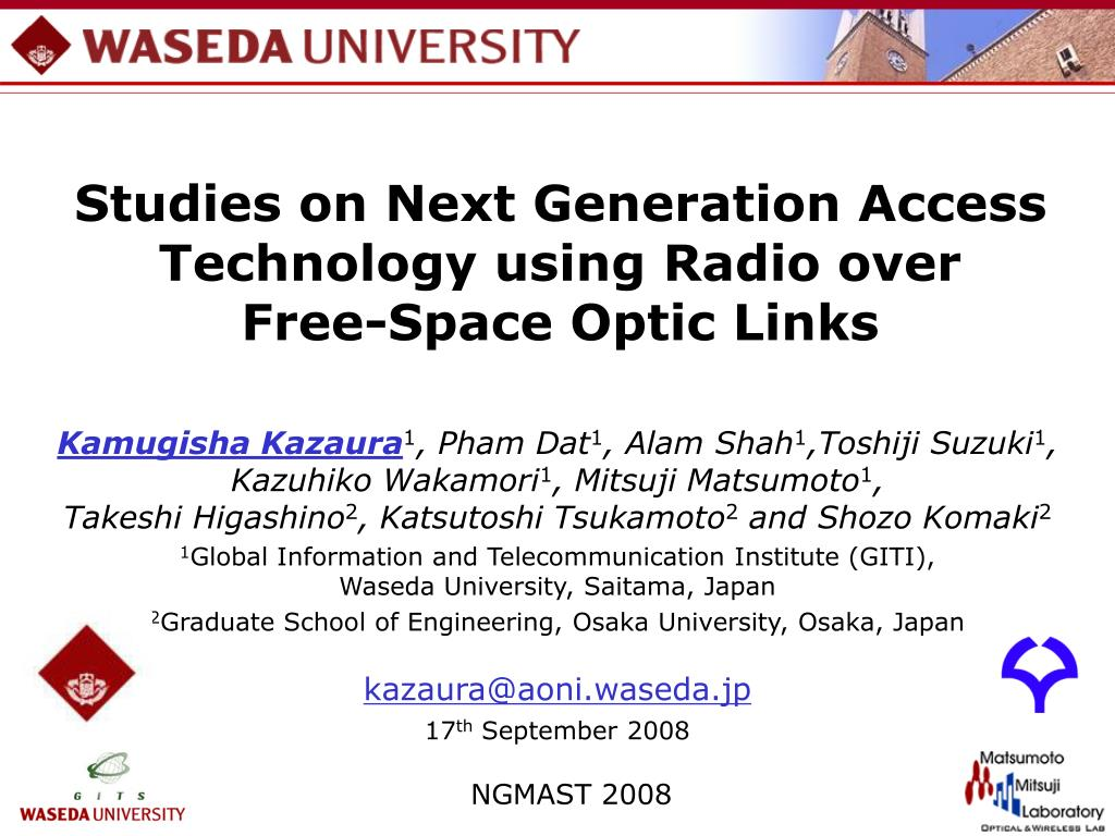 studies on next generation access technology using radio over free space optic links l.