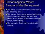 persons against whom sanctions may be imposed