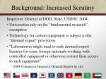 background increased scrutiny