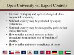 open university vs export controls