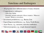sanctions and embargoes22