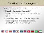 sanctions and embargoes23
