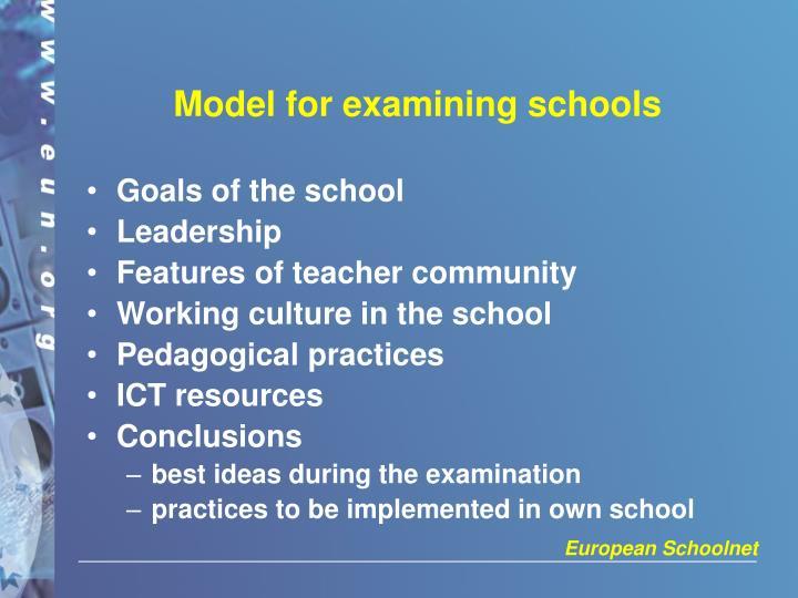 Model for examining schools