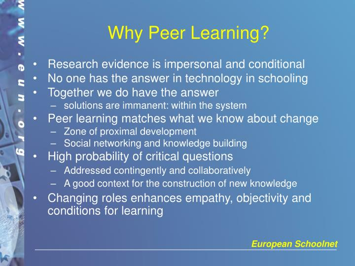 Why peer learning