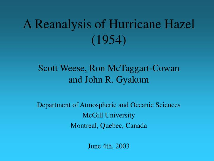 a reanalysis of hurricane hazel 1954 n.