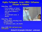 highly pathogenic avian h5n1 influenza viruses in humans
