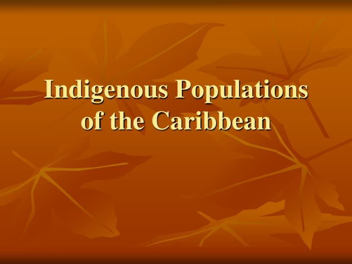 indigenous populations of the caribbean n.