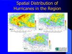 spatial distribution of hurricanes in the region