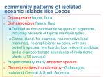 community patterns of isolated oceanic islands like cocos