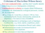 criticisms of macarthur wilson theory