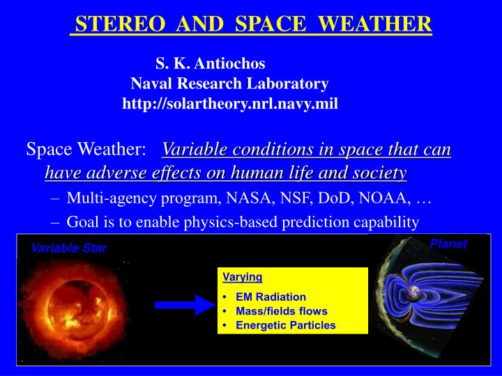 stereo and space weather n.