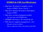 stereo cme geo effectiveness