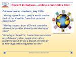 recent initiatives online economics trial