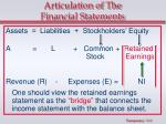 articulation of the financial statements