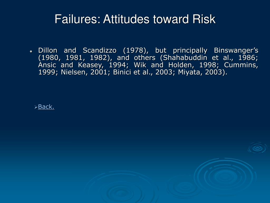 Failures: Attitudes toward Risk