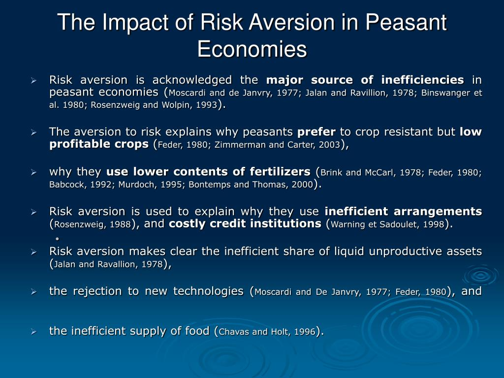 The Impact of Risk Aversion in Peasant Economies