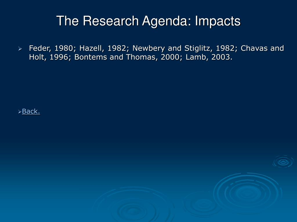 The Research Agenda: Impacts