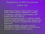symptoms of rett syndrome continued