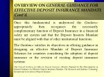 overview on general guidance for effective deposit insurance mandate cont d