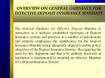 overview on general guidance for effective deposit insurance mandate