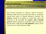 types of deposit insurance systems