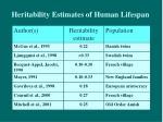 heritability estimates of human lifespan