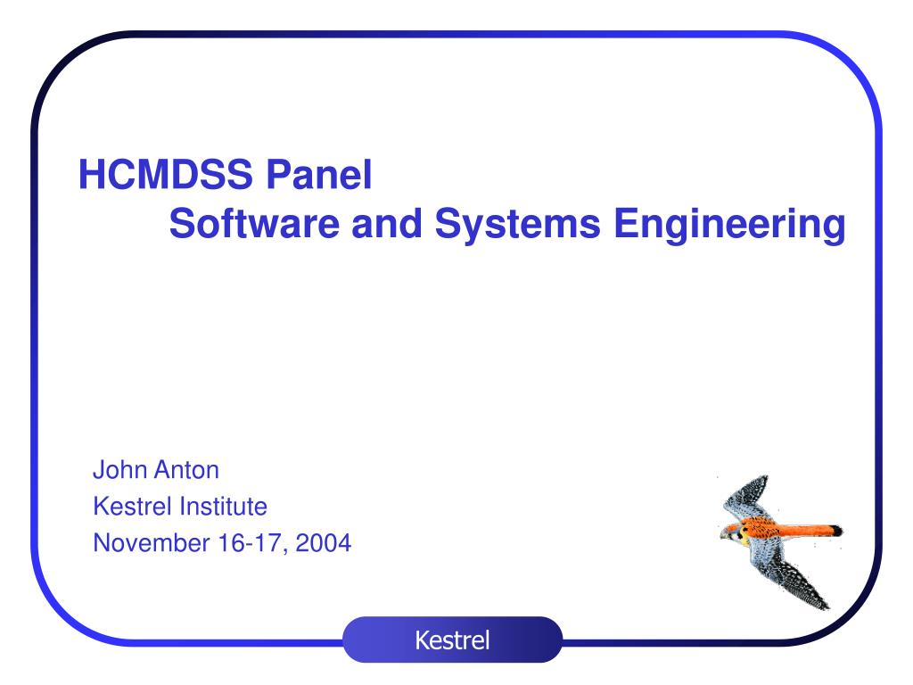 hcmdss panel software and systems engineering l.