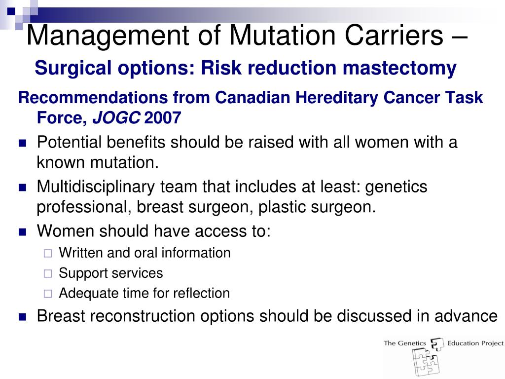 Management of Mutation Carriers –
