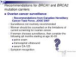 recommendations for brca1 and brca2 mutation carriers30
