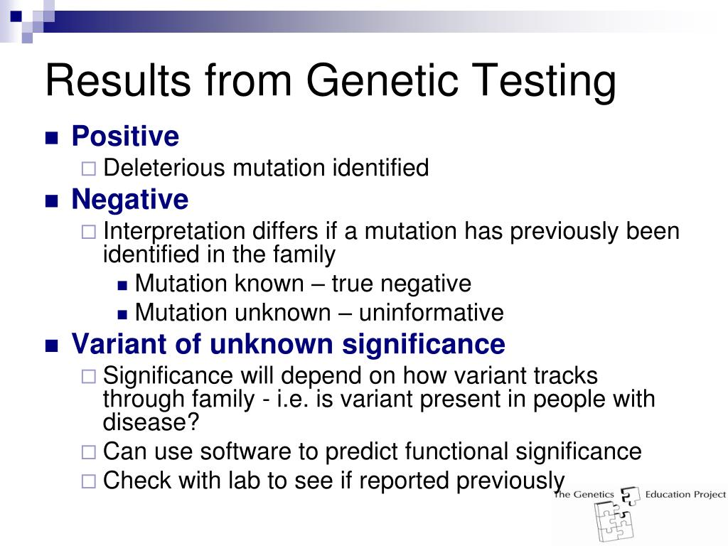 Results from Genetic Testing