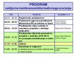program zaklju ne konference informativnega sre anja