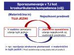 sporazumevanje v tj kot kroskurikularna kompetenca cilj