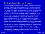 the rms titanic lifeboat decision