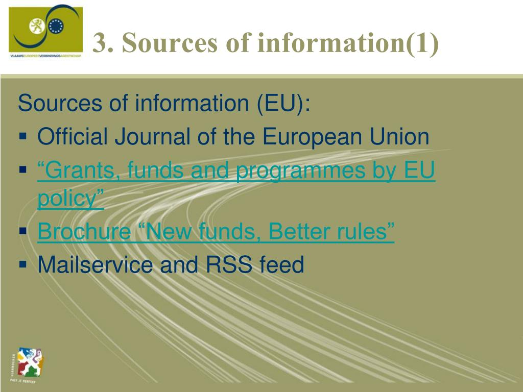 3. Sources of information(1)