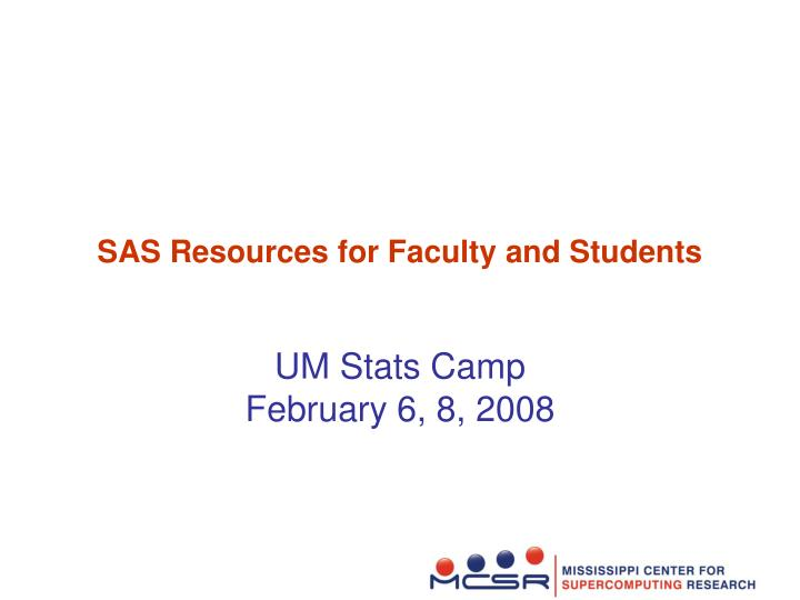 sas resources for faculty and students n.