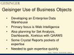 geisinger use of business objects