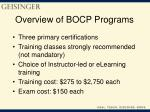 overview of bocp programs