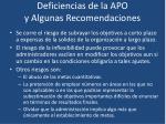 deficiencias de la apo y algunas recomendaciones9