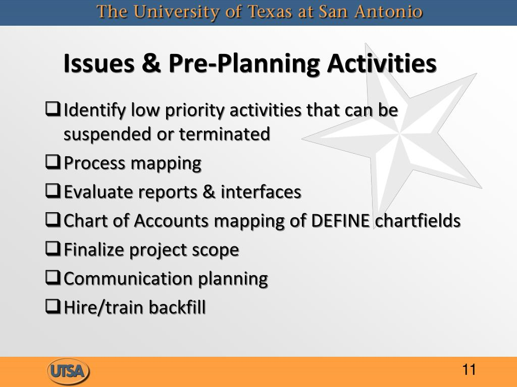 Issues & Pre-Planning Activities