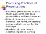 promising practices of presentations