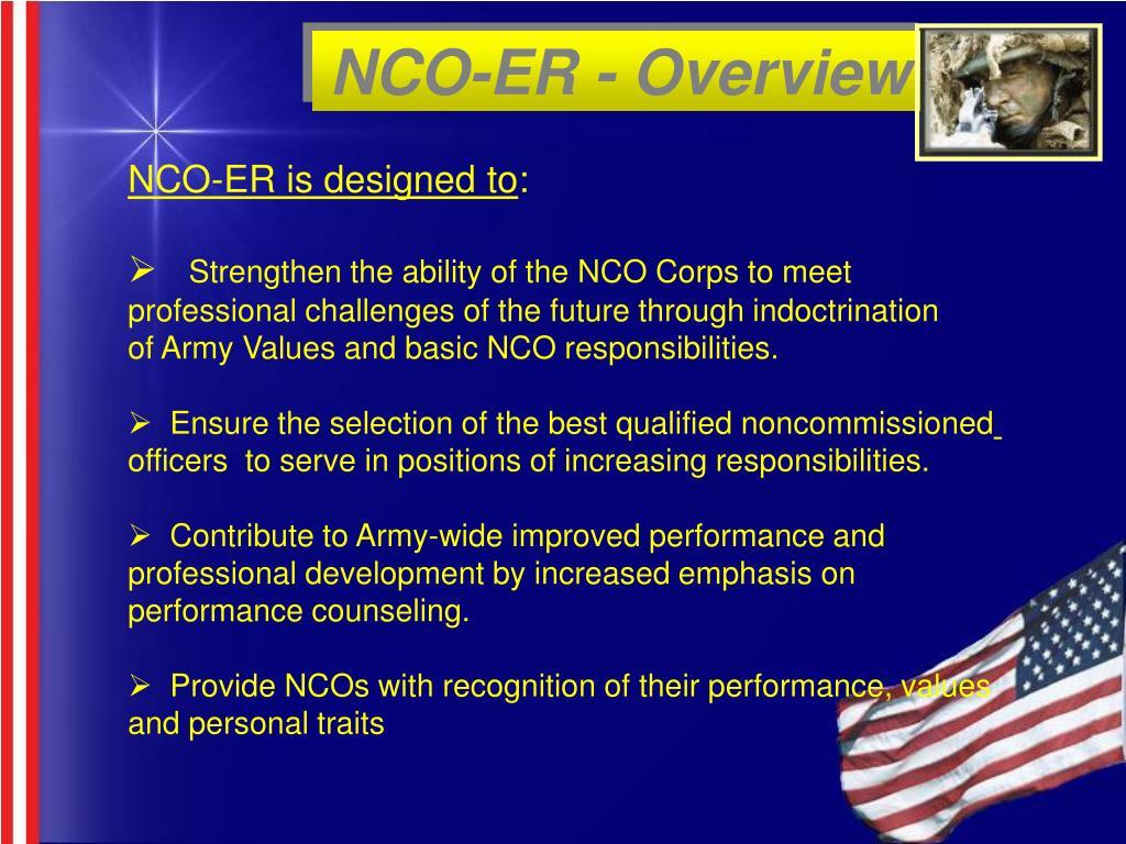 NCO-ER - Overview