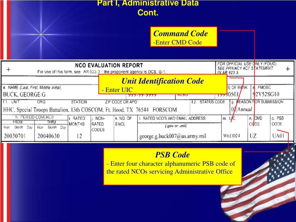 Part I, Administrative Data