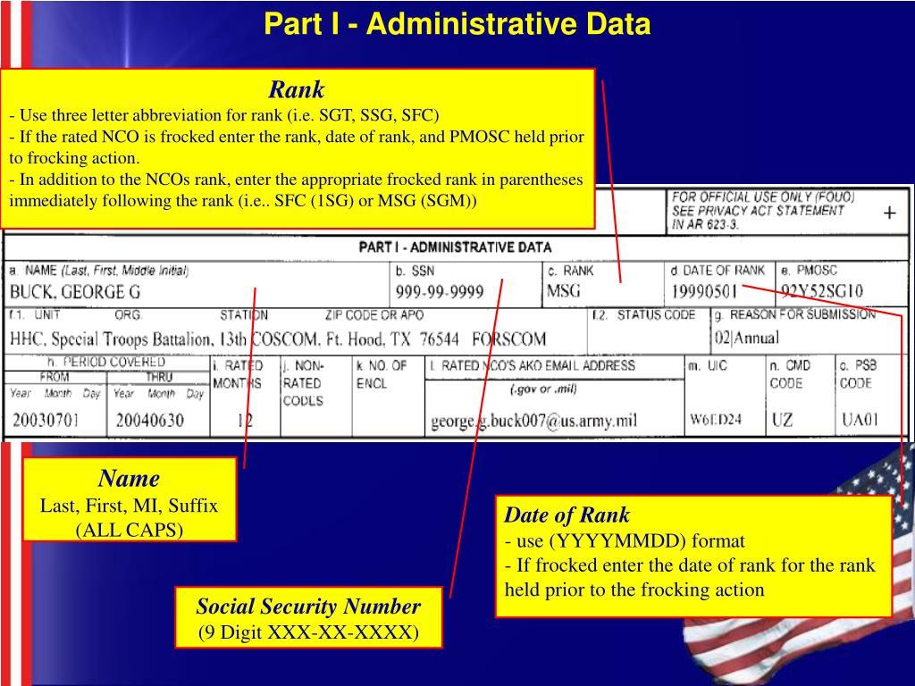 Part I - Administrative Data