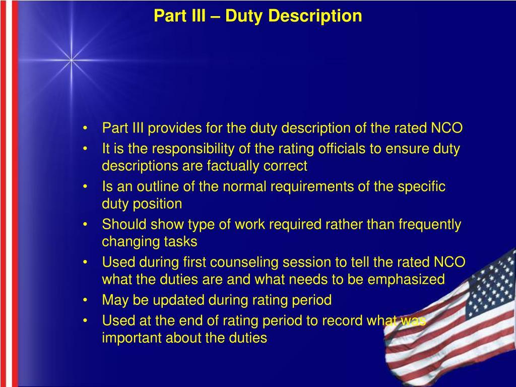 Part III – Duty Description