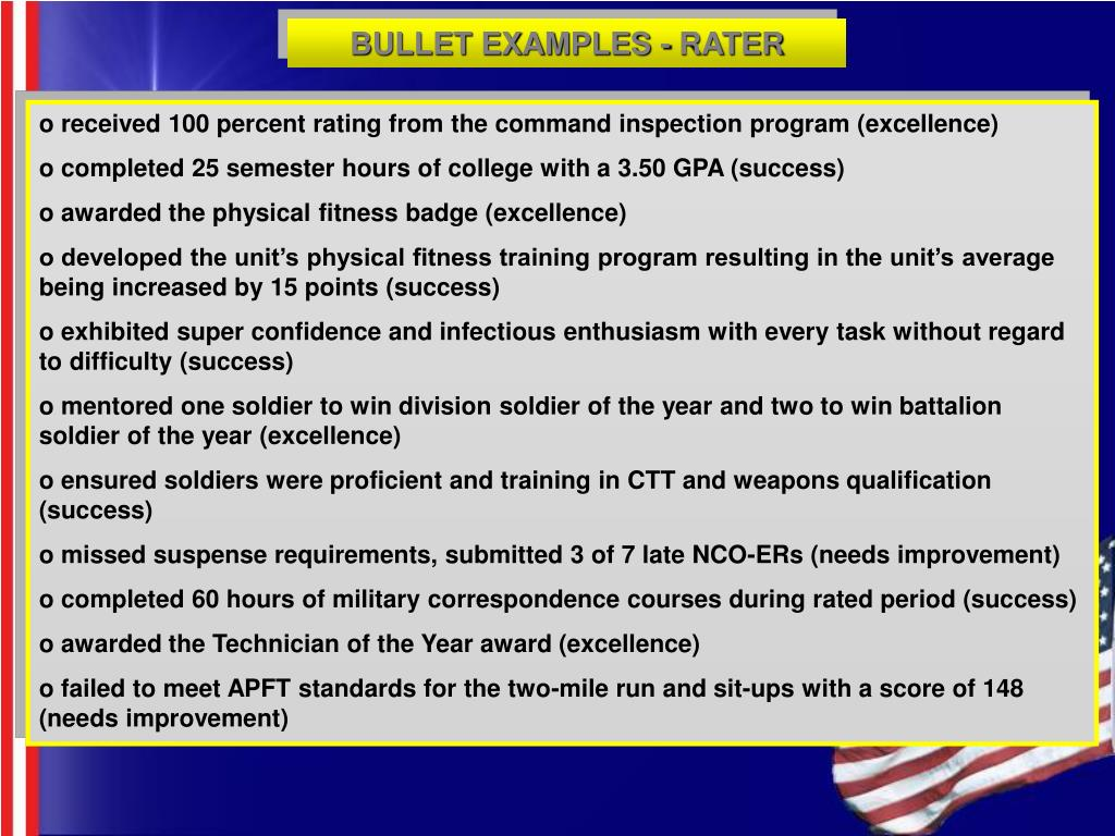 BULLET EXAMPLES - RATER