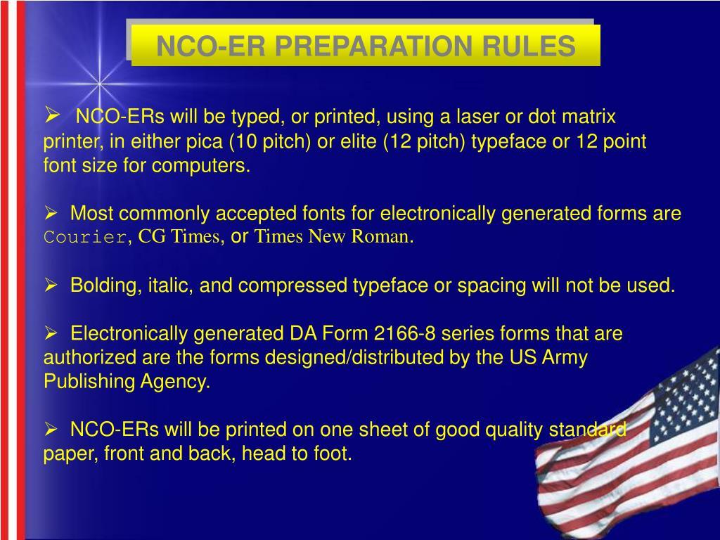 NCO-ER PREPARATION RULES